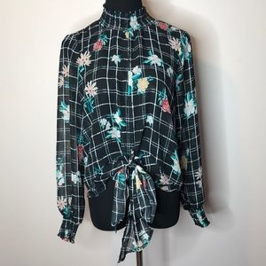 Miss Lily sheer black floral blouse w/bow in front